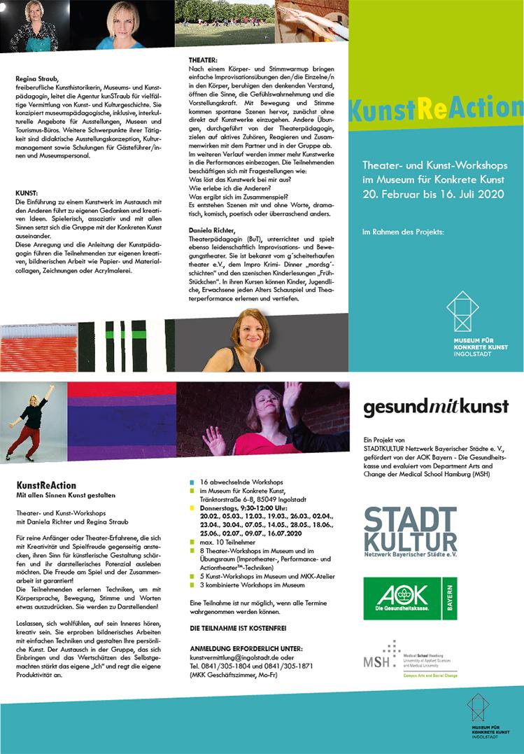 Werbefaltblatt KunstReAction, Theater- und Kunst-Workshop