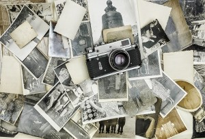 retro camera on the background of old photos