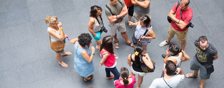tourists around guide, top view